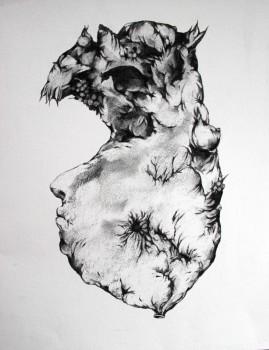 Sans titre, fusain sur papier,28x38 cm, 2013