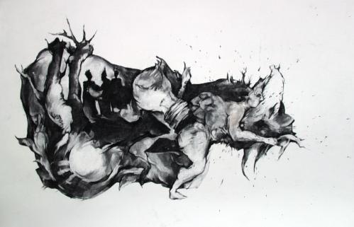 Épiphanie, fusain sur papier, 70x100 cm, 2013