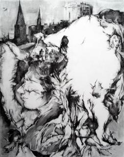 Monde charnel, fusain sur papier, 70x50cm, 2012